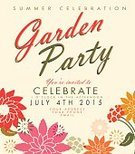 Ilustration,Flower,template,Gardening,Formal Garden,Design,Text,Retro Revival,Garden Party,Invitation,Summer,Square,Plant,Celebration,Springtime,Vector,Vibrant Color,Leaf,Multi Colored,Colors,Party - Social Event