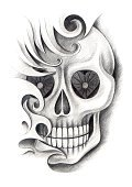 Death,Vertical,Human Skull,Human Bone,Drawing - Art Product,Drawing - Activity,Black Color,Fine Art Painting,Fine Art Statue,Art And Craft,Art,Craft,Pencil Drawing,Photography,Anatomy,2015,Dead