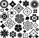 Exoticism,Symbol,Isolated,Set,Black And White,Design Element,Abstract,Ilustration,Nature,Flower,Pattern,Petal,Vector,Plant