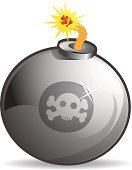 Bomb,Human Skull,Flame,Skull and Crossbones,Bombing,Fire - Natural Phenomenon,Computer Icon,Explosive,Religious Icon,Symbol,Illustrations And Vector Art,Vector Backgrounds,Warning Sign,Isolated Objects,Vector Icons,Warning Symbol,Danger,Death,Shiny