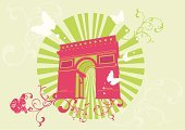 Paris - France,Arch,France,Butterfly - Insect,Vector,Computer Graphic,Alexander Column,Ilustration,Monument,Elegance,Design,Architecture,Clip Art,Architecture And Buildings,Monuments,Travel Locations,Landmarks,Built Structure,Building Exterior,Ornate,Illustrations And Vector Art