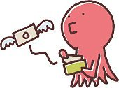 Buying,Currency,Paying,Flying,Wallet,Sadness,Poverty,キャラクター,Cartoon,Cute,Ilustration,Octopus,Full Length,Octopus,expenses