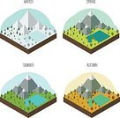 Isometric,Forest,Weather,Leaf,Autumn,Yellow,Meadow,Outdoors,Nature,Snow,Vector,Tree,Summer,Winter,Mountain,Backgrounds,Blue,Ilustration,Hill,Season,Panoramic