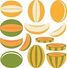 Exoticism,Isolated,Set,Design Element,Symbol,Abstract,Fruit,Cutting,Food,Vector,Melon