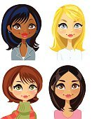 Business,Blond Hair,Redhead,African-American Ethnicity,Latin American and Hispanic Ethnicity,Multi-Ethnic Group,Beauty,Adult,Illustration,Women,Vector,African Ethnicity,Beautiful People,2015,Icon Set,Avatar