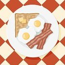Bacon,Eggs,Breakfast,Toast,Fried Egg,Bread,Vector,Fried,Butter,Food,Ilustration,Meal,Pork,Directly Above,Heat - Temperature