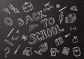 Blackboard,Education,Rear View,Chalk - Art Equipment,Computer Icon,Icon Set,Backgrounds,Chalk Drawing,Pen,Child,Inspiration,Elementary Age,Pattern,Classroom,Doodle,White,Writing,Design,Plan,Bag,Globe - Man Made Object,Ideas,Ruler,Decoration,Summer,Art,Student,Pencil,Book,Teacher