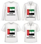 Collection,T-Shirt,Shirt,Series,White Background,Computer Graphic,Clip Art,Garment,Clothing,Short Sleeved,United Arab Emirates,Flag,Long Sleeved,unisex,Fashion,Textile,Vector