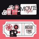 Movie,Night,motion picture,Projection Equipment,Vector,Ticket,Popcorn,Entertainment,Internet,Event,Symbol,Admit One,Equipment,Ilustration,Film Industry,Horizontal,Banner,Creativity,Technology,Premiere,Camera - Photographic Equipment,Machine Part,Sign