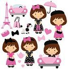 Ilustration,Cartoon,French Culture,Paris - France,Fashion,City Life,Vector,Pink Color,Little Girls,Teenage Girls,Cute,Eiffel Tower,Dog,Car,France