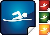 Swimming,Computer Icon,Vector,Sport,Stick Figure,Event,Label,Shiny,Sports Event,Actions,Vector Icons,Sports And Fitness,Illustrations And Vector Art,Page Curl,Professional Sport