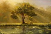 Tree,Paintings,River,Old,Autumn,Inside Of,Landscape,Field,Senior Adult,Sunrise - Dawn,Painted Image,Lake,Fairy Tale,Sun,Fog,Nature,Silhouette,Leaf,Meadow,Woodland,Grass,Ancient,Scenics,Art,Summer,Wood - Material,Dusk,Rural Scene,Springtime,Non-Urban Scene,Environment,Beauty In Nature,Sunlight,Loneliness,Land,Bog,Solitude,Plant,Idyllic,Back Lit,No People,Agriculture,Simplicity,Yellow,Environmental Conservation,Clear Sky,Transparent,Remote,Oil-paint,Nature,Visual Art,Arts And Entertainment,Landscapes