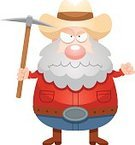 Cowboy,Beard,Men,Forty-niner,49er,Vector,Miner,Panning for Gold,One Person,People,Frowning,Computer Graphic,Ilustration,Clip Art,Cartoon,Displeased,Furious,Anger,Pick Axe