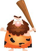 Beard,Men,One Person,Animal Skin,Primitivism,Club,Caveman,Neanderthal,People,Displeased,Computer Graphic,Ilustration,Vector,Frowning,Clip Art,Furious,Anger,Cartoon,Weapon