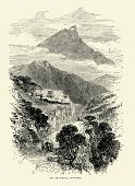 Pyrenees,Old-fashioned,Natural Phenomenon,Road,Spain,Thoroughfare,Styles,Mountain Pass,Mountain,History,European Culture,Cultures,Iberian Peninsula,Ilustration,Land Feature,Land,Woodcut,Old,Nostalgia,Mountain Range,19th Century Style,Print,Retro Revival,Spanish Culture,Southern Europe,Image Created 19th Century,Victorian Style,Engraved Image,Europe,Drawing - Art Product,Country Road,Antique,Black And White,The Past