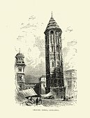 Architecture,Spain,Tower,19th Century Style,Image Created 19th Century,Leaning,Moorish,National Landmark,Victorian Style,Leaning Tower of Pisa,Antique,Woodcut,Spanish Culture,Southern Europe,The Past,Prasna Brana,Aragon,Black And White,Old-fashioned,Zaragoza Province,Local Landmark,Ilustration,Iberian Peninsula,mudejar,Nostalgia,Retro Revival,Famous Place,History,European Culture,Styles,Cultures,Old,Built Structure,Drawing - Art Product,Europe,Engraved Image,Print