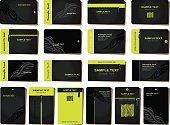 Business Card,Backgrounds,Collection,Creativity,Design,Business,Black Color,Corporate Business,template,Symbol,Set,Design Element,Authority,Shape,Paper,Posing,Tattoo,Vector,Pattern,Decoration,Computer Graphic,Group of Objects,Ilustration,Place Card,Green Color
