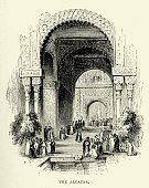 Print,Old-fashioned,National Landmark,Santa Cruz - Spain,Southern Europe,The Past,Spanish Culture,Moorish,Iberian Peninsula,Drawing - Art Product,Ilustration,Cultures,Engraved Image,Europe,History,European Culture,Woodcut,Old,Nostalgia,mudejar,Alcazar Palace,Famous Place,Retro Revival,Spain,Sevilla,Seville,19th Century Style,Architecture,Black And White,Antique,Andalusia,Image Created 19th Century,Victorian Style,Styles