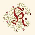 Letter K,Old-fashioned,Decoration,Elegance,Identity,Design Element,Vector,Capital Letter,Rococo Style,Victorian Style,Swirl,Flower,Red,Calligraphy,Ilustration,Tendril,Beige,Baroque Style,Spiral,Blossom,Gold Colored,Alphabet,History,The Past,Floral Pattern,Flourish,Nobility,Typescript