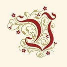 Flourish,Nobility,Floral Pattern,History,Ilustration,The Past,Alphabet,Gold Colored,Spiral,Blossom,Baroque Style,Tendril,Beige,Typescript,Calligraphy,Flower,Red,Swirl,Rococo Style,Victorian Style,Capital Letter,Vector,Identity,Design Element,Elegance,Old-fashioned,Decoration,Letter V