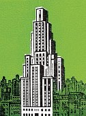 Town,Cityscape,Architecture,Business,Vertical,Outdoors,Urban Skyline,Office,New York City,Skyscraper,Facade,Downtown District,Illustration,Pop Art,No People,Photography,Colored Background,2015,Green Background