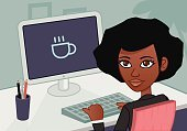 Businesswoman,Professional Occupation,Backgrounds,Ilustration,Vector,Resting,Business,Women,Jacket,Desk,Coffee - Drink,Cup,Morning,African Descent,Computer Keyboard,Computer,Desktop PC,Office Interior