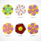 Flores,Flower Head,Blossom,Daisy,Abstract,Ornate,Paper Made,Botany,Front View,Flower,Multi Colored,Vector,Collection,Blooming,Circle,Set