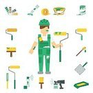 Work Tool,Paintbrush,Home Interior,Can,Paint Tray,Built Structure,Colors,Paint,Painter,Residential District,Collection,Single Object,Vector,Rolling,Isolated,Color Swatch,Repairing,Design,Ornate,Design Element,Decorating,Improvement,Flat,Ladder,Bucket,Mansion,Paint Roller,Manual Worker,Job - Religious Figure,Men,Working,Occupation,Hat,Icon Set,Concepts,Fence,Ilustration,Handbook,Bib Overalls,Insignia,Computer Icon,Symbol,Set,Spray
