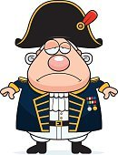 Navy,Military,Armed Forces,Men,Officer,One Person,Uniform,Sadness,People,Ilustration,Computer Graphic,British Culture,English Culture,Depression - Sadness,Admiral,Boat Captain,Frowning,Clip Art,Cartoon,Vector