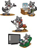 Raccoon,Animal,Cartoon,Telephone,Computer,Television Set,Internet,Fiber Optic,Entertainment Center,Technology,Electrical Equipment,Cute,Wireless Technology,Liquid-Crystal Display,Cable,Watching,Tail,Fur,Illustrations And Vector Art,Computers,Computer Cable,Flat Screen,Electronics,Vector Cartoons,Sitting,Technology,Showing,Enjoyment