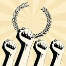 Human Hand,Victory,Fist,Russia,Politics,Revolution,Shaking Fist,Poster,Winning,Gripping,People,Success,Power,Vector,Ilustration,Symbols Of Peace,Laurel Wreath,Grunge,Concepts,High Contrast,Ideas,Human Gender,Male,People,Illustrations And Vector Art,Concepts And Ideas