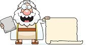 Happiness,Holding,Cheerful,Computer Graphic,Clip Art,Law,Ilustration,List,Smiling,Ten Commandments,Scroll,Religion,One Person,Cartoon,Blank,People,Men,Robe,Sign,stone tablet,Number 10,decalogue,Judaism,Christianity,Bible,Beard,Moses,Vector