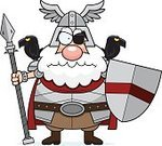 Furious,Displeased,Anger,Suit of Armor,Beard,odin,norse,Viking,Spear,Raven,One Person,Bird,Cartoon,Men,Ilustration,People,Shield,Vector,Work Helmet,Computer Graphic,Clip Art,Eye Patch,Frowning,God,Warrior