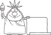 New York City,Paper,List,Ilustration,Holding,Parchment,One Person,Vector,Statue,Sign,People,Happiness,Cheerful,Statue of Liberty,Sculpture,Smiling,Flaming Torch,USA,The Americas,Computer Graphic,Clip Art,Cartoon,Blank,Women