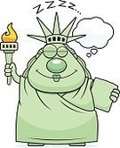 Sleeping,Cartoon,Clip Art,Dreamlike,The Americas,USA,Vector,Thought Cloud,Statue,Statue of Liberty,Computer Graphic,Cheerful,Sculpture,Smiling,Note Pad,Flaming Torch,People,One Person,Happiness,Ilustration,Napping,New York City,Women