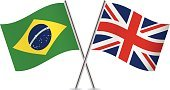Banner,Curve,Brazil,Waving,Pole,Brazilian Flag,British Flag,National Flag,Isolated On White,UK,Ilustration,Two Objects,Flag,White Background,Sign,Vector,Small,Computer Icon,Symbol,Britain Flag