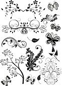 Growth,Design Element,Butterfly - Insect,Victorian Style,Design,Flower,Black Color,Floral Pattern,Ornate,Vector,Decoration,Scroll Shape,Leaf,Swirl,Summer,Branch,Elegance,Botany,Cartouche,Decor,Image,Beautiful,Computer Graphic,Ilustration,Curve,Shape,Vector Ornaments,Vector Backgrounds,Illustrations And Vector Art,Vector Florals