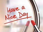Mirror,Make-up,Three Dimensional,Message,Reflection,Space,Beauty,Single Object,Defocused,Female,Glamour,Writing,Elegance,Design,Beauty Product,Day,Tube,Women,Sign,Red,Material,Stick - Plant Part,Vector,Single Word,Wishing,Love,Lipstick,Happiness,Shiny,Have,Have A Nice Day,Human Lips,Letter,White