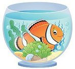 Glass - Material,Pets,Aquatic,Underwater,Water,Tropical Climate,Cute,Design,Vector,Ilustration,Happiness,Cheerful,Plant,Nature,Curiosity,Fish Tank,Bubble,Art,Eps10,Fish,Fishbowl,Animal Fin,Anemonefish,Clown Fish,Animal,Single Object