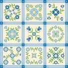 Quilt,Patchwork,Pattern,Textile,Flower,Single Flower,Appliqué,Stitch,Vector,Craft,Vector Florals,Vector Ornaments,Arts Abstract,Illustrations And Vector Art,Color Image,Hand Stitched,Arts And Entertainment
