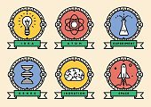 Research,Creativity,Technology,Space,DNA,Learning,Electric Lamp,Atom,University,Scientist,Design Illustration,Straight,Vector,Symbol,Badge,Imagination,Science,Scientific Experiment