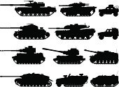Armored Tank,Military,Silhouette,Armed Forces,Military Land Vehicle,Land Vehicle,Car,Vector,Back Lit,Off-Road Vehicle,Armoured Personnel Carrier,Outline,Armored Vehicle,Shadow,Ilustration,Isolated,Black Color,White Background,Isolated On White,Monochrome,Focus on Shadow