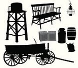 Water Tower - Storage Tank,Wild West,Milk Jug,Barrel,Silhouette,Bench,Wood - Material,19th Century Style,Group of Objects,Wheel,Old-fashioned,Image Created 19th Century,Antique,Vector,Crate,Electric Lamp,Sack,Box - Container,Ilustration,Outline,Black Color,Computer Graphic,Series,Bag,Cut Out,Sketch,Digitally Generated Image,Focus on Shadow,Spoke,Isolated On White,Glass - Material,Obsolete,Tracing,Isolated,Shape