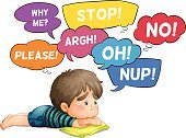 No,Ohio,argh,Shrugging,Thinking,Resting,Speech Bubble,Pillow,Pleading,Emotion,Clip Art,Computer Graphic,Exclamation Point,White Background,Little Boys,Touching,Facial Expression,Child,Vector