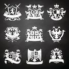 Obsolete,Old-fashioned,Banner,Sign,Symbol,Set,Postage Stamp,Badge,Design,Military,Label,Pattern,Ornate,Flag,Eagle - Bird,Ilustration,Horse,Knight,Animal,Blackboard,Insignia,Griffin,heraldic,Ribbon,Coat Of Arms,Coat,Crown,1940-1980 Retro-Styled Imagery,Retro Revival,Nobility,Style,Design Element,Axe,Vector,Sword,Isolated,Lion - Feline,Frame,Victorian Style,Decoration,Painted Image
