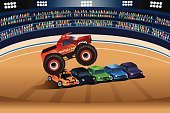 Flying,Motorsport,Competition,Competitive Sport,Sports Race,Land Vehicle,Sport,Large,Stunt,Exhibition,Stadium,Jumping,Car,Vector,Danger,Performance,Entertainment,Cartoon,Ilustration,Monster Truck,Modern,Clip Art,Drawing - Art Product,Crushed