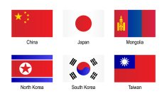 Vector,National Flag,Computer Icon,Icon Set,Asia,East Asia,Flag,Square Shape,Rectangle,Group of Objects,Isolated,Flag Of South Korea,China - East Asia,Japan,Taiwanese Flag,North Korean Flag,White Background,Labeling,Square,Flag Of Mongolia,Japanese Flag,North Korea,Independent Mongolia,South Korea,Taiwan,Chinese Flag,Flat