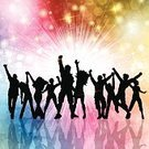 Disco Dancing,Dancing,Pair,Group Of People,Ilustration,EPS 10,Crowd,Celebration,People,Vector,Backgrounds,Back Lit,Eps10,Silhouette,Party - Social Event