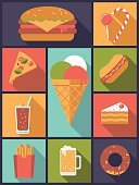 Pizza,Drink,Alcohol,Computer Icon,Flat Design,Ilustration,Food,Symbol,Slice,French Fries,Collage,Bad Food,Beer - Alcohol,Candy,Hamburger,Collection,Variation,Cheeseburger,Lollipop,Unhealthy Eating,Take Out Food,Vertical,Square Shape,Glass,Cake,Lemonade,Cola,Ice Cream,Ice Cream Cone,Hot Dog,Donut