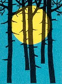 Nature,Vertical,Outdoors,Tree,Full Moon,Night,Forest,Illustration,Pop Art,No People,2015